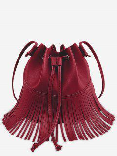 Crossbody Drawstring Fringe Bucket Bag - Red