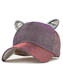 Cat Earrings Decoration Baseball Hat - Dull Purple