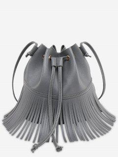 Crossbody Drawstring Fringe Bucket Bag - Gray
