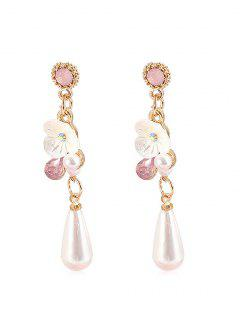 Rhinestone Faux Pearl Shell Decoration Earrings - Blanco