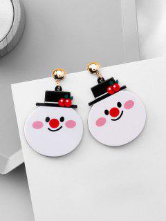 Christmas Decoration Snowman Shape Earrings - White