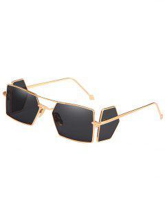 Metal Frame Four Lenses Rectangle Sunglasses - Black Eel