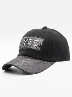 Sequins Decoration Letter Design Baseball Hat - Black