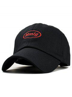 Letter Embroidery Decoration Baseball Hat - Black