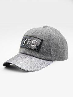 Sequins Decoration Letter Design Baseball Hat - Gray