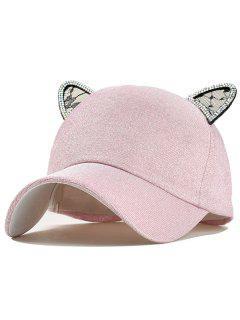 Cat Earrings Decoration Baseball Hat - Pink