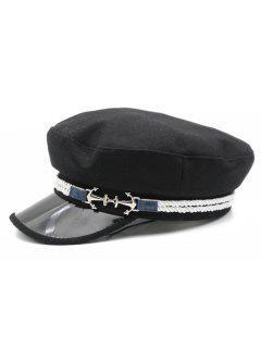 Fashionable Winter Flat Top Hat - Black