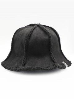 Fuzzy Letter Decoration Bucket Hat - Black