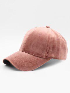 Solid Color Design Suede Baseball Hat - Lápiz Labial Rosa