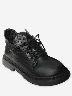 Flat Faux Leather Ankle Boots - Black Eu 35