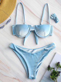 Bikini Con Diseño De Balconet De Terciopelo Con Aros - Azul Claro S