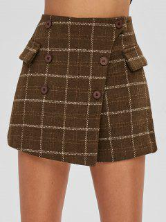 Plaid Button Embellished Skirted Shorts - Coffee L