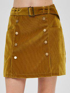 Buttoned Pockets Corduroy Skirt - Cookie Brown L