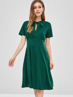 Keyhole Bow Tie A Line Dress - Green M