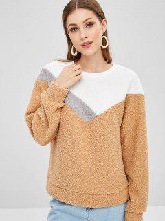 Casual Color Block Teddy Sweatshirt - Khaki L