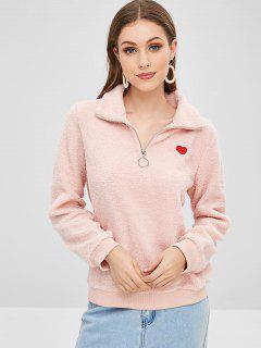 Heart Teddy Quarter Zip Pullover Sweatshirt - Light Pink S