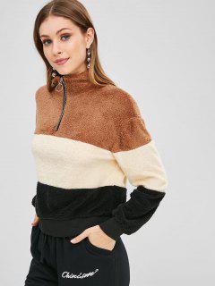 Half Zip Color Block Teddy Sweatshirt - Multi L