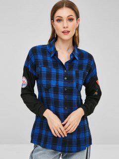 Snap Button Pockets Plaid Shirt - Deep Blue