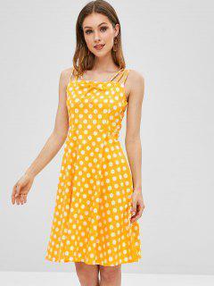 Tied Strappy Polka Dot A Line Dress - Yellow L