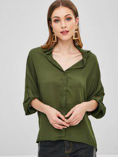 Batwing Half Buttoned High Low Top - Army Green S
