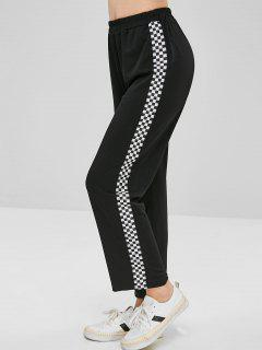 High Waisted Wide Leg Checkered Pants - Black S