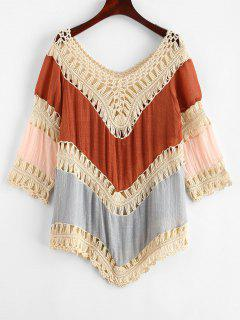 Crochet Panel Color Block Cover-up - Multi-a