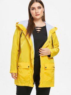 Hooded Plus Size Pocket Windbreaker Jacket - Yellow 2x