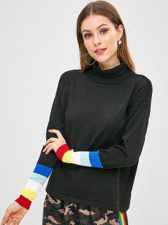 Turtleneck Colorful Striped Sweater - Black