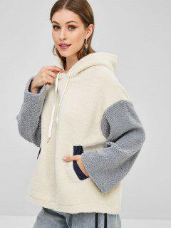 Color Block Fluffy Teddy Hoodie - White