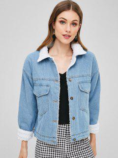 Fluffy Lined Pocket Denim Jacket - Denim Blue M