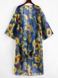 Sunflower Print Draped Kimono - Cobalt Blue