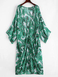 Palm Leaf Beach Kimono - Jungle Green