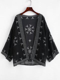 Printed Beach Kimono - Black