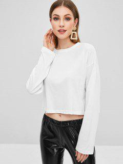 Drop Schulter Langarm T-Shirt - Weiß