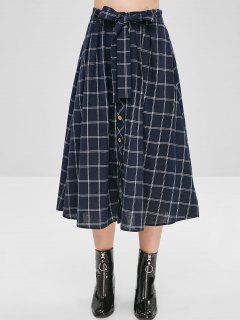 Checked Tie Button Up Skirt - Dark Slate Blue L