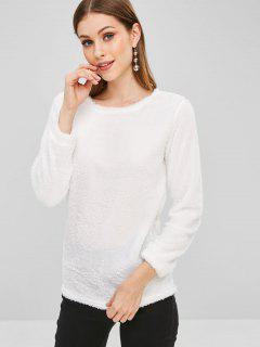 Plain Faux Fur High Low Sweatshirt - White S