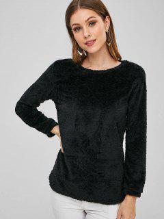 Plain Faux Fur High Low Sweatshirt - Black Xl