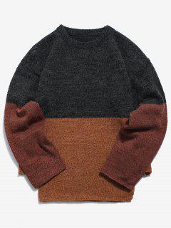 Casual Panel Knit Sweater - Dark Gray M