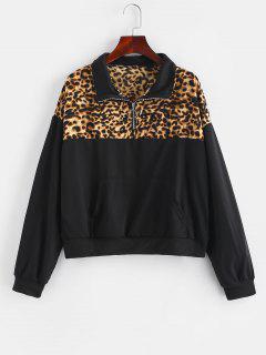 Paneled Pouch Quarter Zip Pullover Sweatshirt - Leopard L