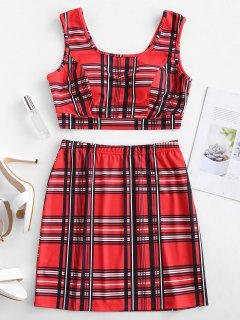 ZAFUL Cropped Plaid Top And Skirt Set - Red S
