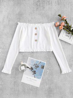ZAFUL Cropped Buttoned Off Shoulder Top - White L