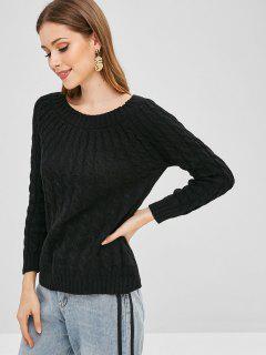 Cable De Punto Suelto Suéter Liso - Negro