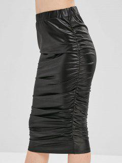 Cinched Faux Leather Skirt - Black L