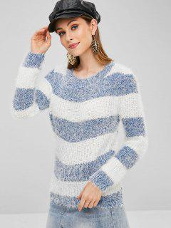Striped Chunky Knit Fluffy Sweater - Blue Gray