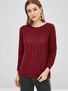 Cable Knit Loose Plain Sweater - Red Wine