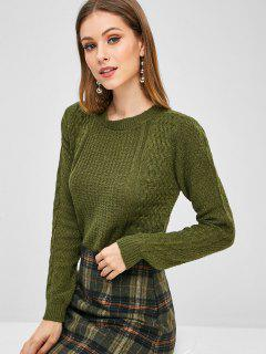 Cable Knit Side Slit Asymmetric Sweater - Army Green