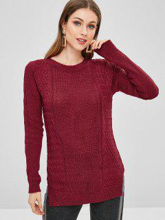 Cable Knit Side Slit Asymmetric Sweater - Red