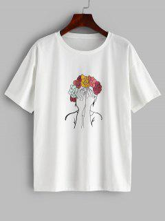 ZAFUL Wreath Girl Relaxed Graphic Tee - White L