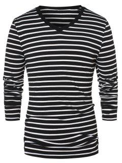 V Neck Long Sleeve Striped Top - Black 2xl