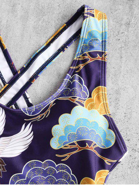 ZAFUL Принт птицы Перекрестные шнурки Купальник - Фиолетовый ирис S Mobile